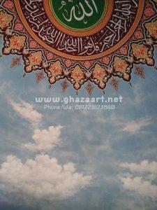 """Proses pengerjaan kaligrafi lukisan awan di masjid sukokilo pati jawa tengah oleh tim kami """"Ghaza art tim professional calligraphy"""".."""