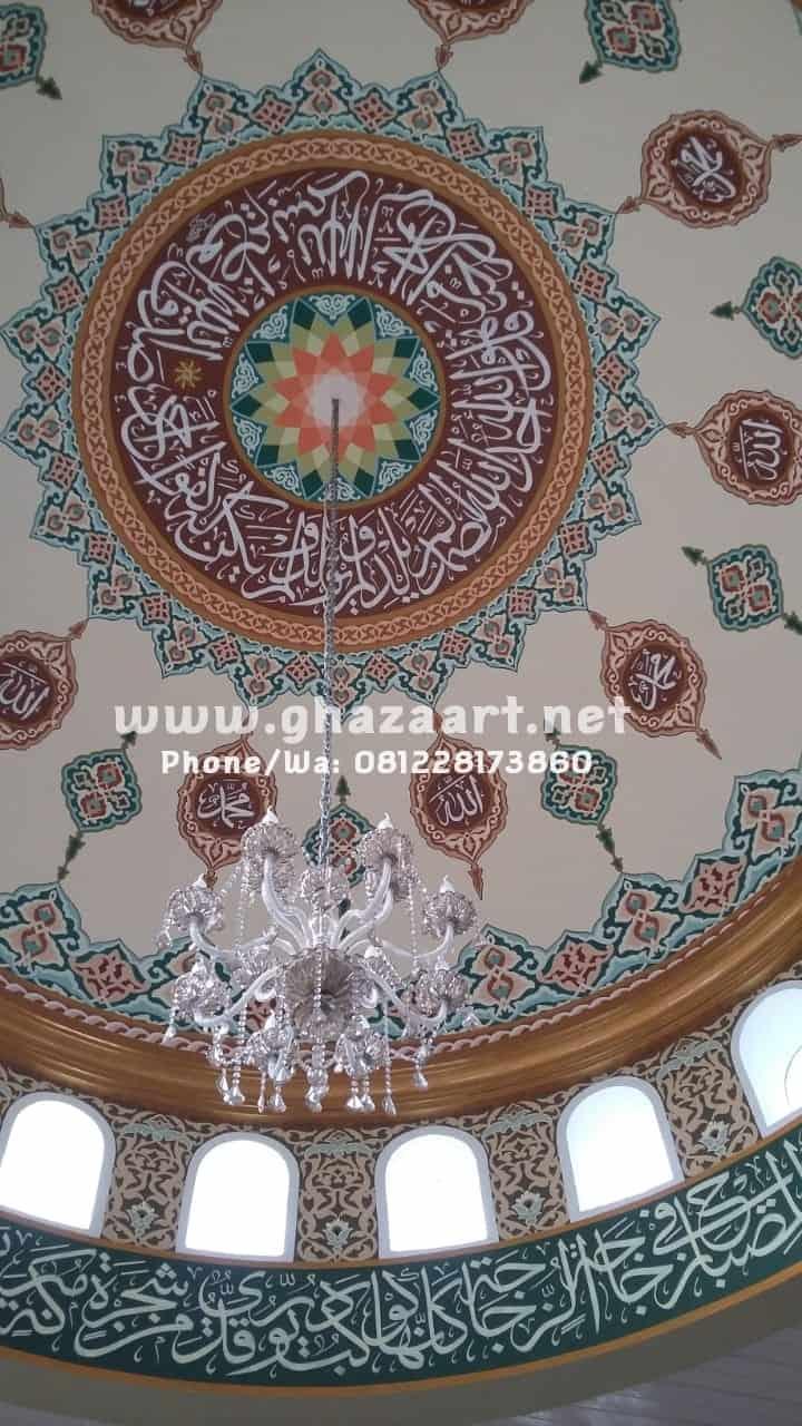 Ornamen plafon kubah masjid al barokah